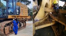 Fotografia de mulheres fazendo manutenção em máquinas Caterpillar